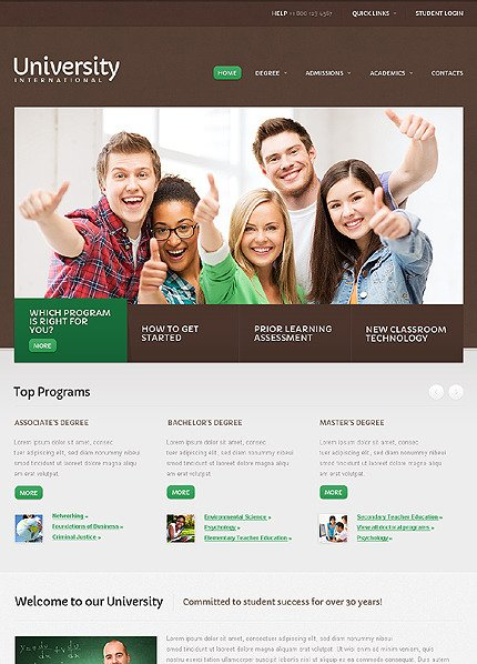 Website template over Universiteit  CSS photoshop