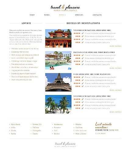 Template 40653 ( Hotels Page ) ADOBE Photoshop Screenshot