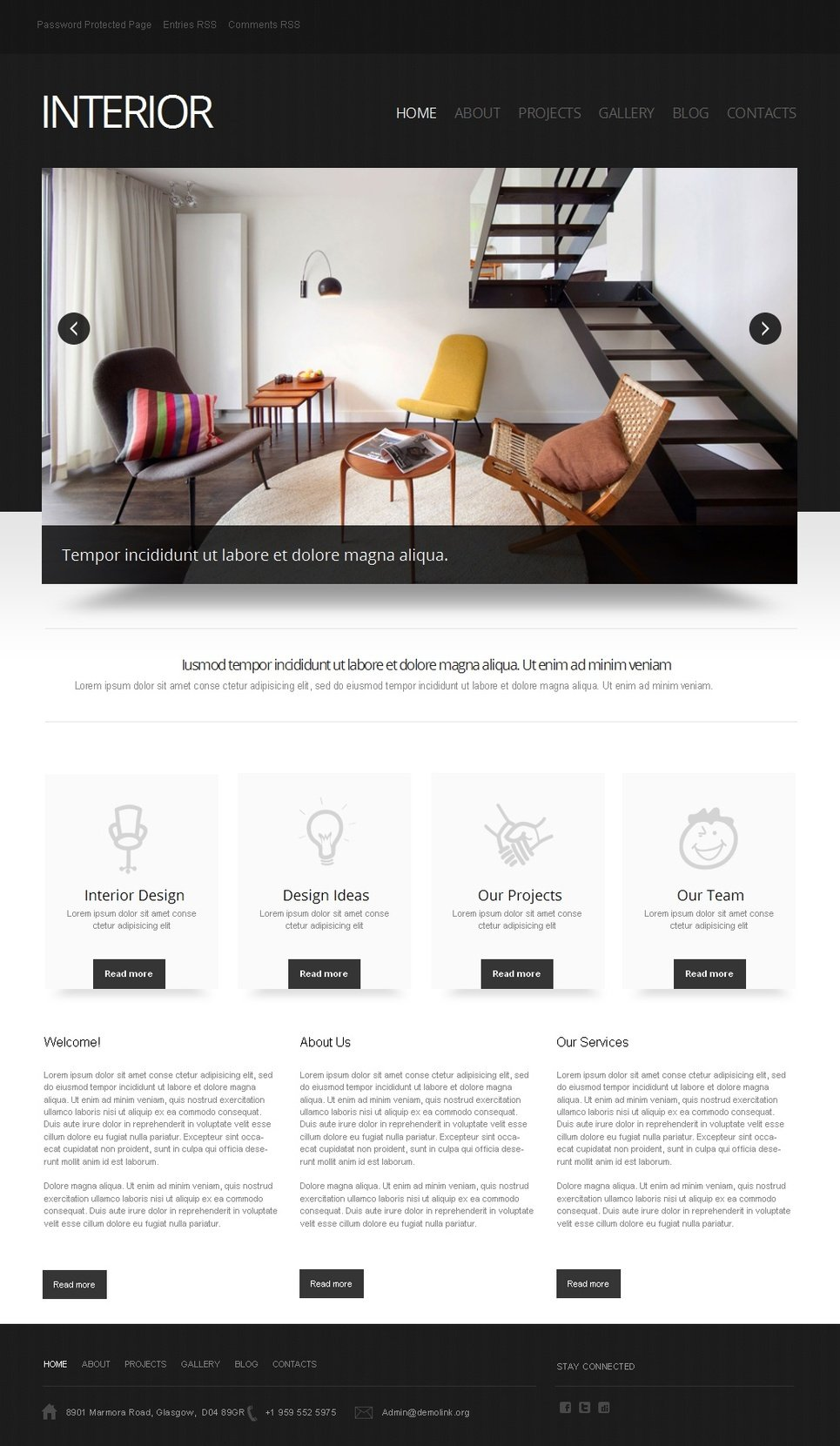 Black and White Interior Website Template with Grid Gallery - image