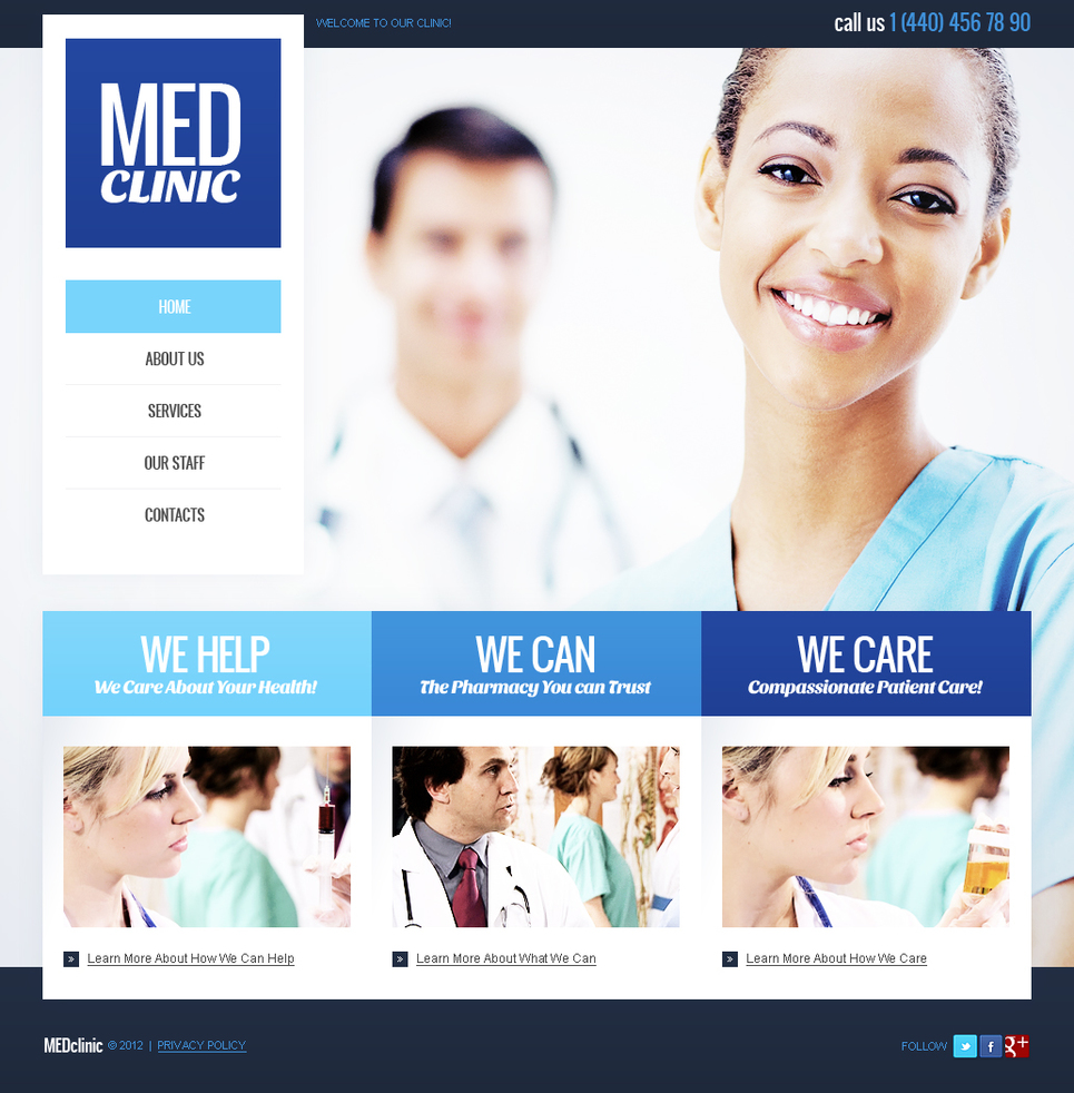Med Clinic Website Template with a Photo Background - image