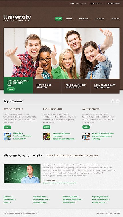 University Website Template CSS photoshop