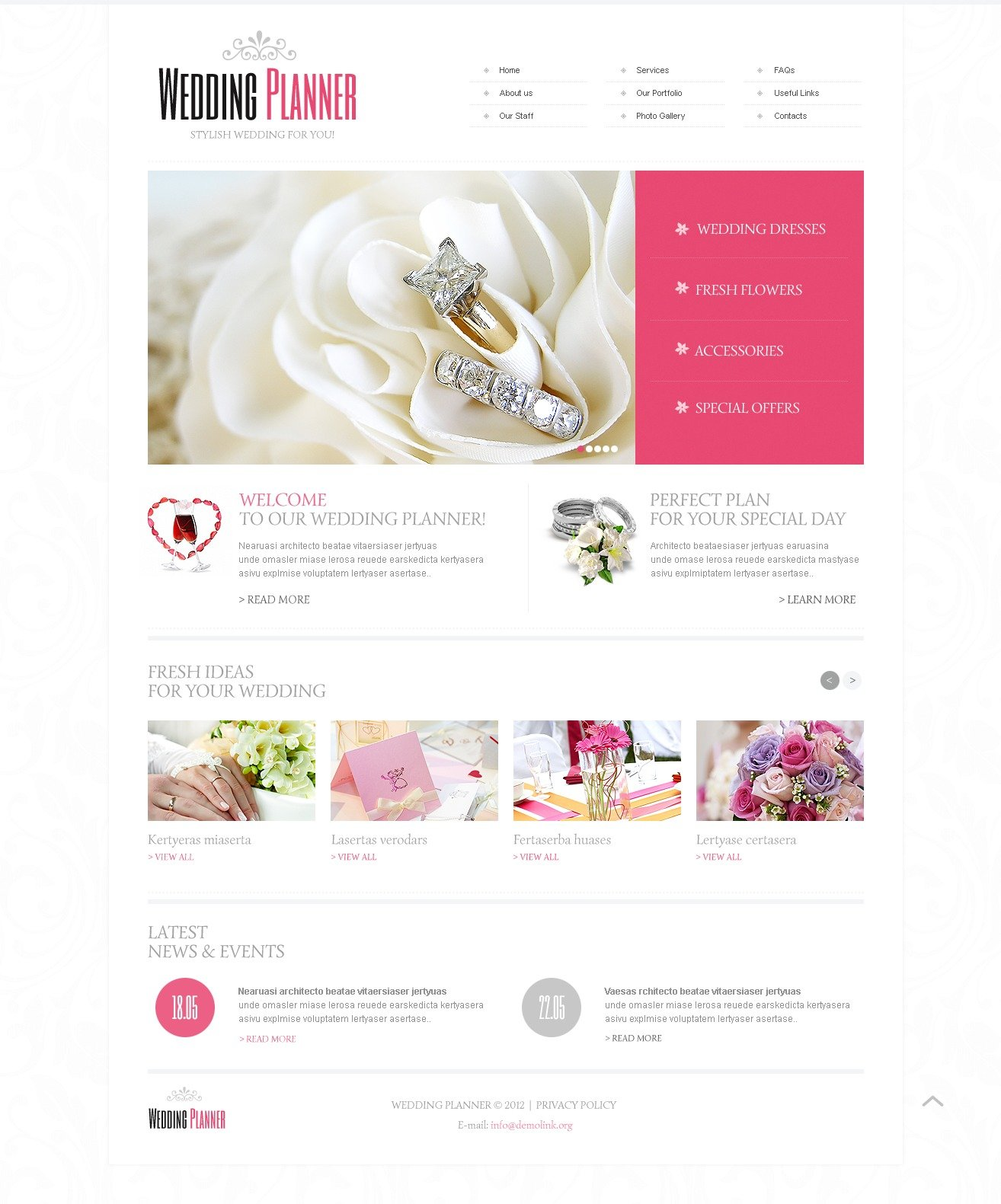 Wedding planner website template 40649 for Planner site