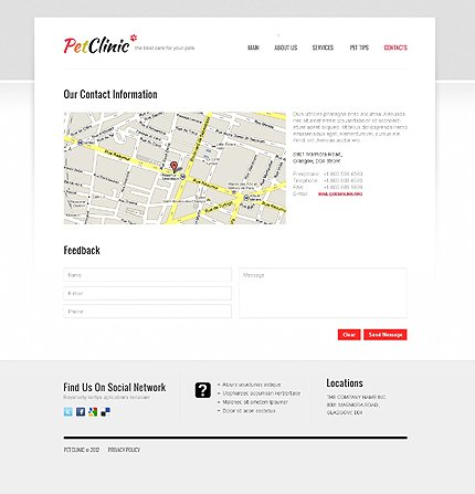 Template 40704 ( Contacts Page ) ADOBE Photoshop Screenshot