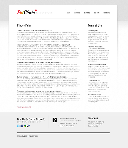 Template 40704 ( Privacy Policy Page ) ADOBE Photoshop Screenshot