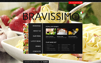 Template 40707 ( Drinks Page ) ADOBE Photoshop Screenshot