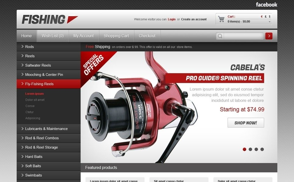 Plantilla OpenCart #40722 para Sitio de Pesca New Screenshots BIG
