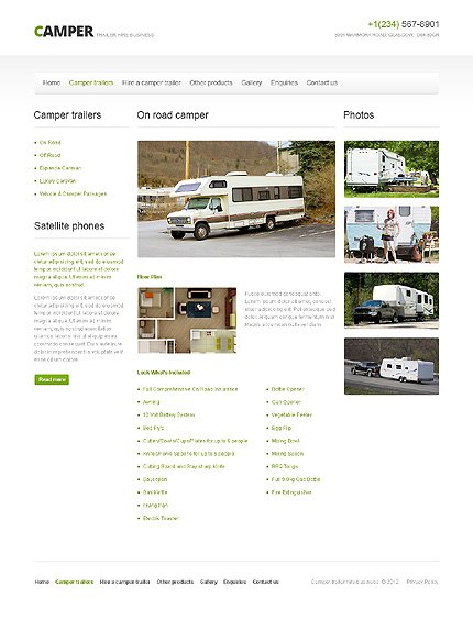 Template 40756 ( Camper Trailers Page ) ADOBE Photoshop Screenshot