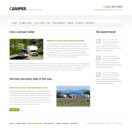 Template 40756 ( Hire A Camper Trailer Page ) ADOBE Photoshop Screenshot