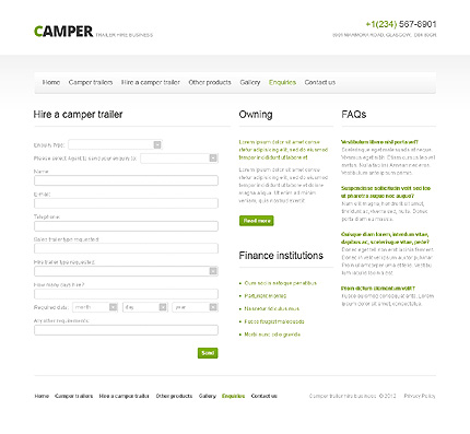 Template 40756 ( Enquiries Page ) ADOBE Photoshop Screenshot