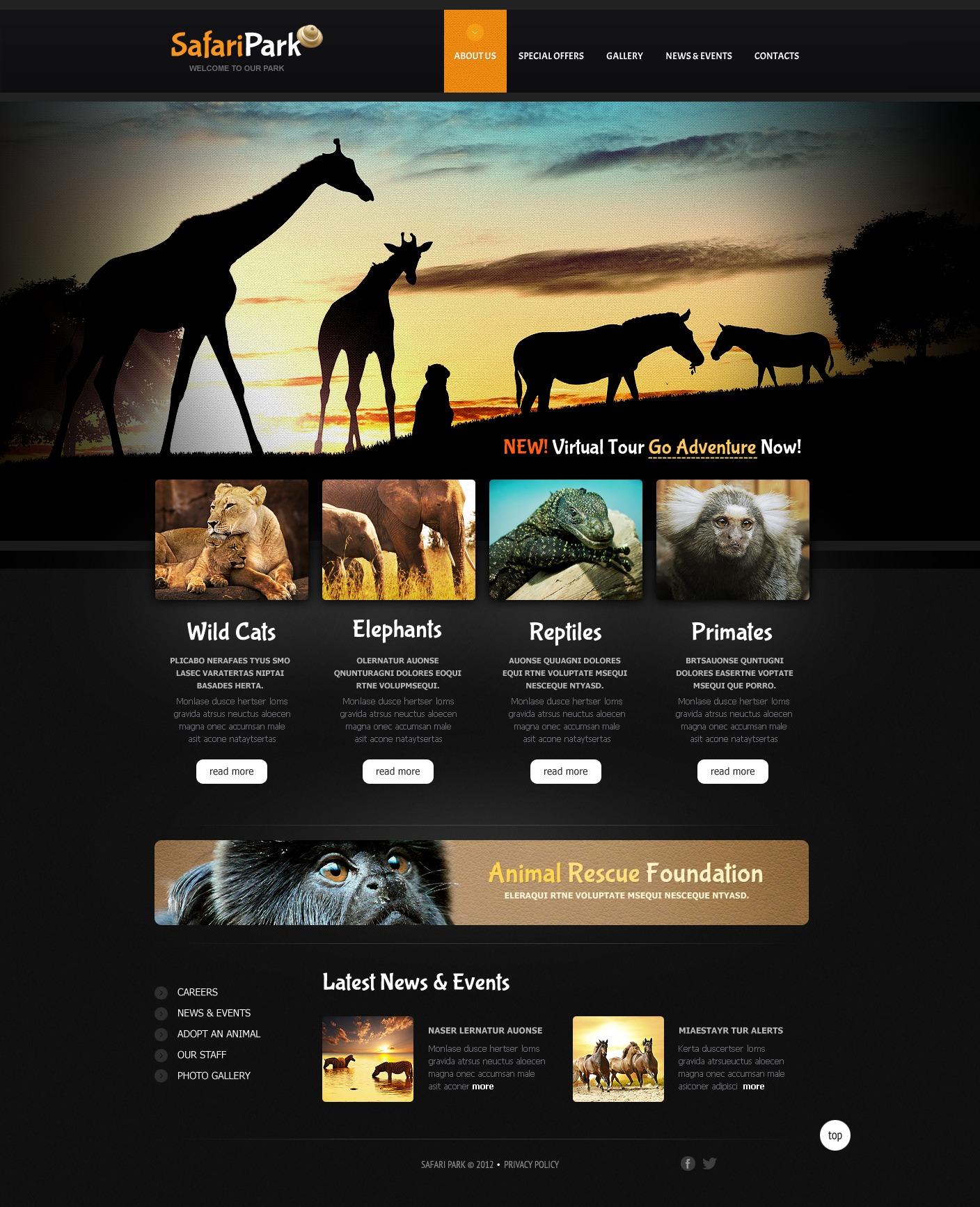 Állatkertek Weboldal sablon 40768