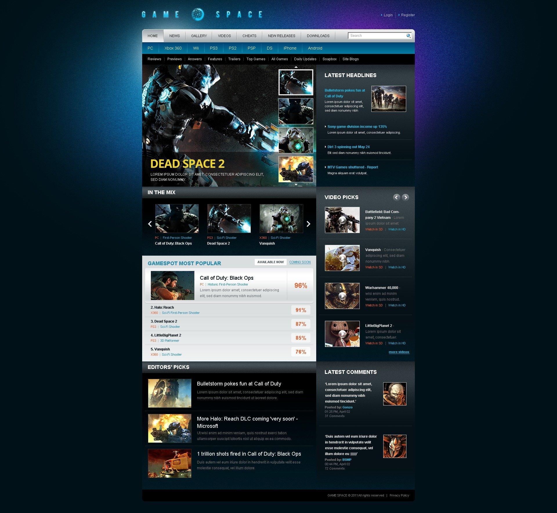 WordPress thema over Spelletjes №40790 - screenshot