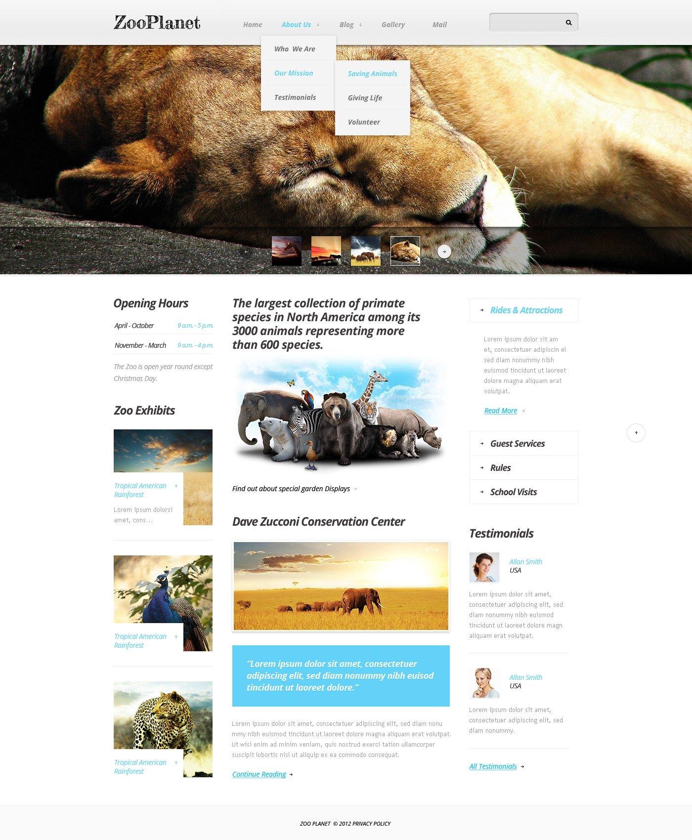 Zoo Drupal Template - screenshot