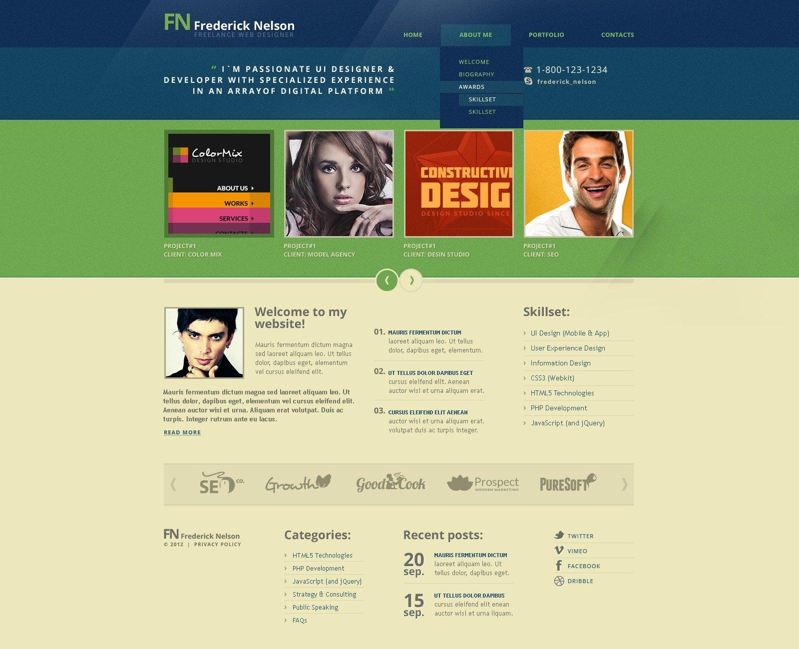 Designer Portfolio Drupal Template - screenshot