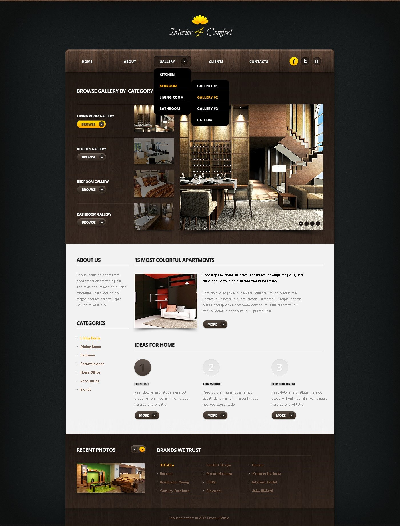 Interior design website template 40898 for Interior design sites