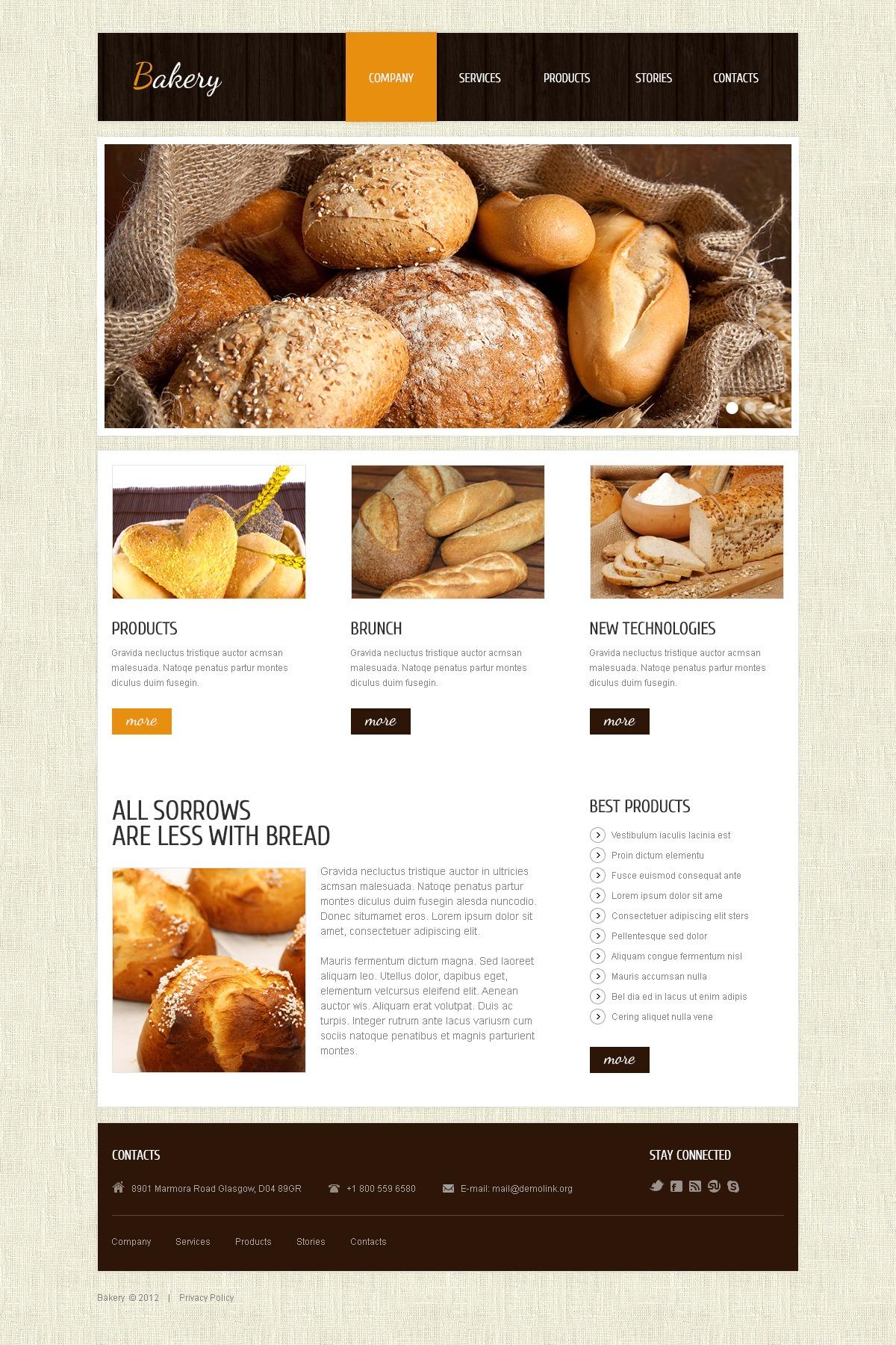 Joomla шаблон на тему пекарня №40808 - скріншот