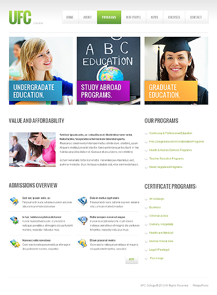 Template 40904 ( Programs Page ) ADOBE Photoshop Screenshot