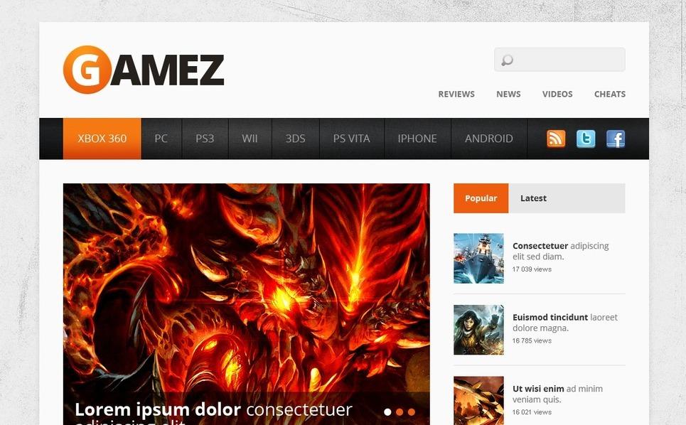 Szablon Strona Www #40905 na temat: portal gier New Screenshots BIG