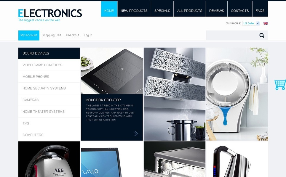 ZenCart Vorlage für  Elektronikgeschäft New Screenshots BIG