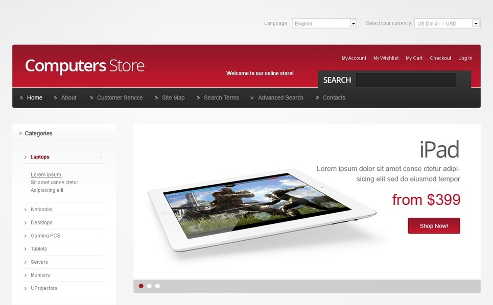 Template OpenCart  #40942 per Un Sito di Negozio di Computer New Screenshots BIG