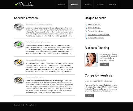 Template 40951 ( Services Page ) ADOBE Photoshop Screenshot