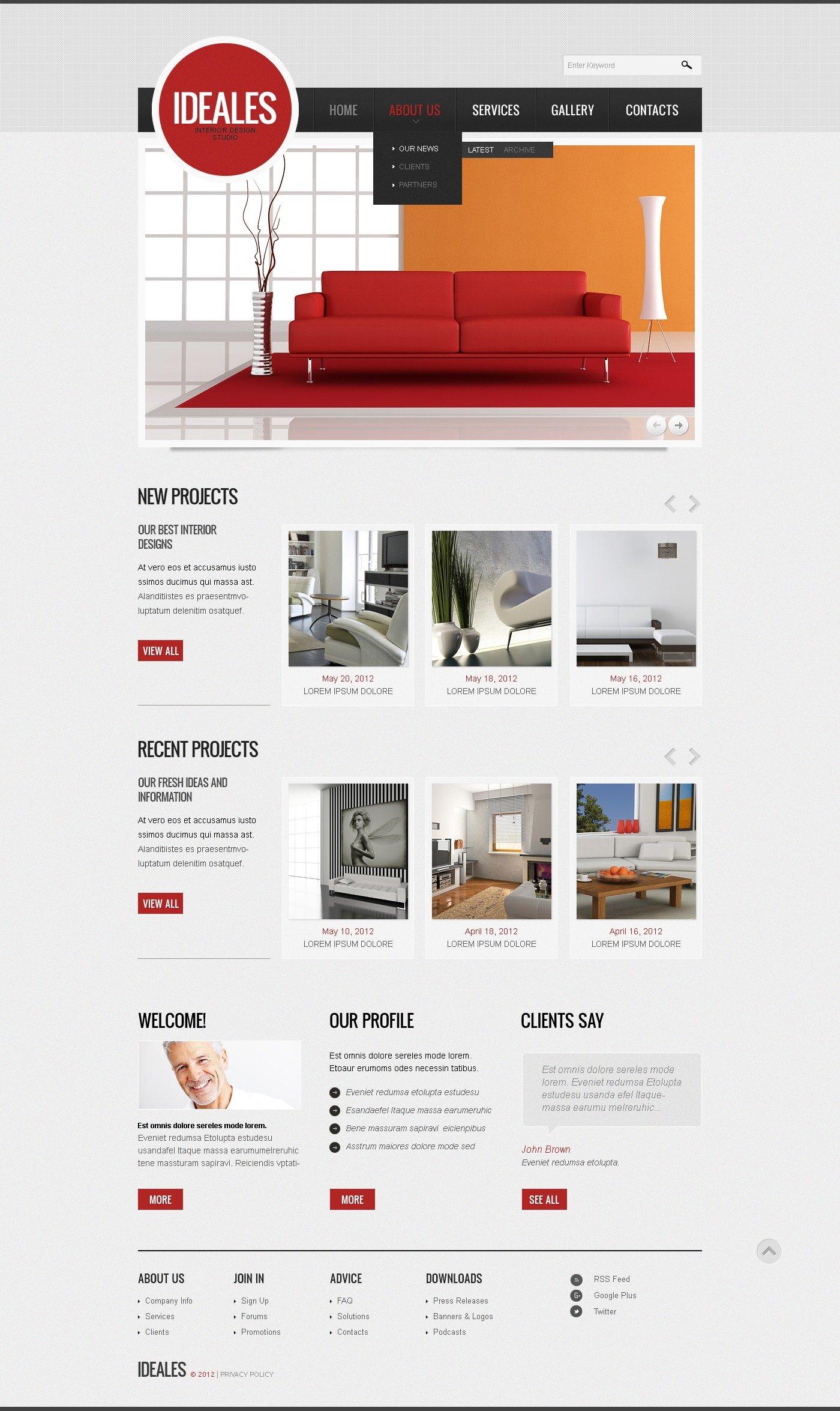 Interior Design Website Template 42812: Interior Design Responsive Website Template #40952