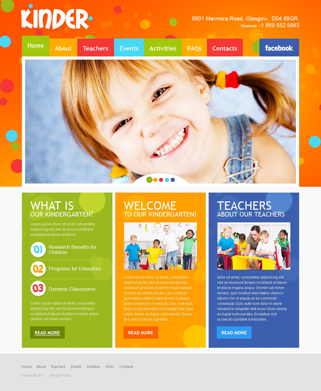 Kids Center Flash CMS Template #40992