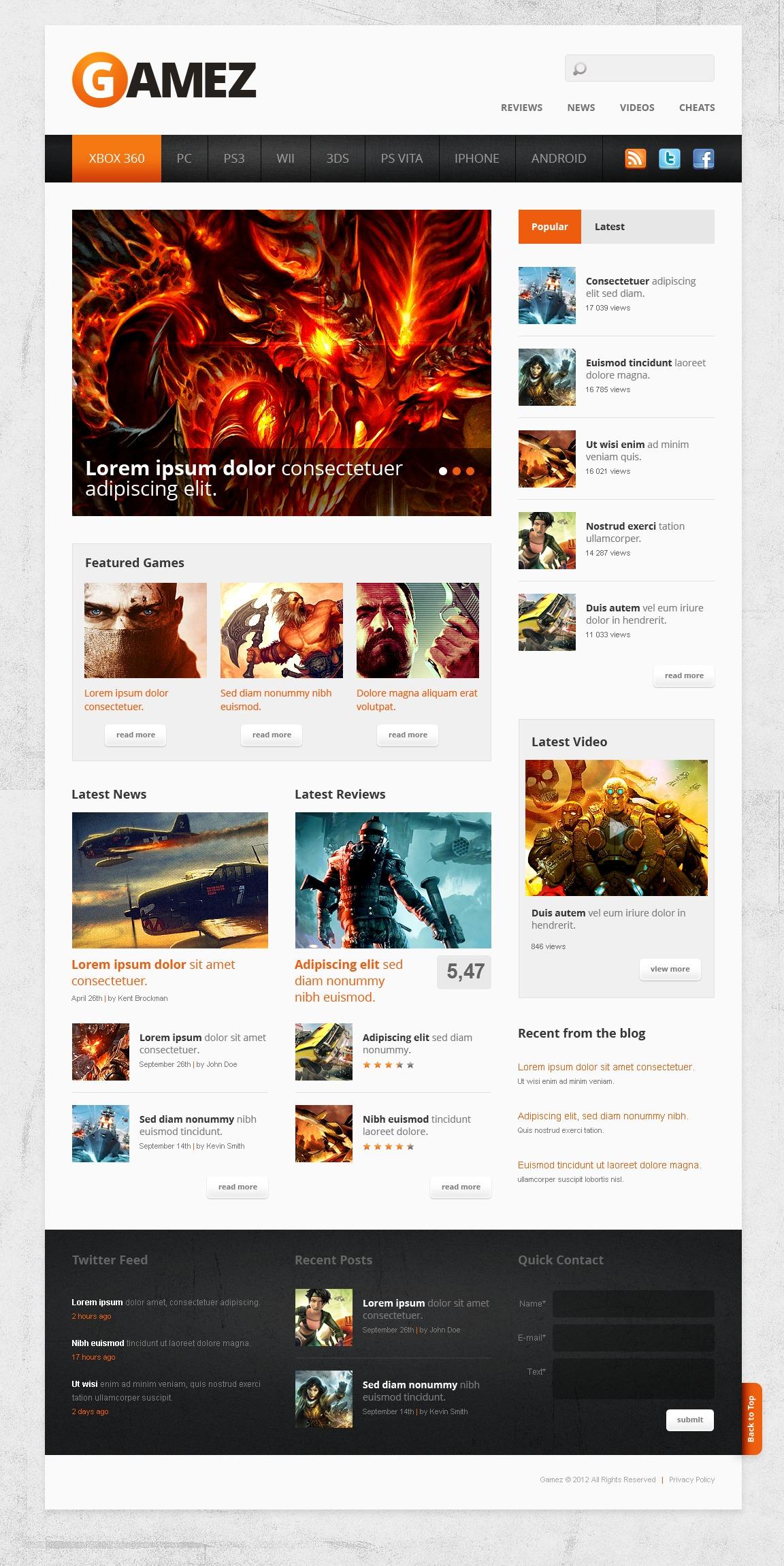 Plantilla Web #40905 para Sitio de Portal de Juegos