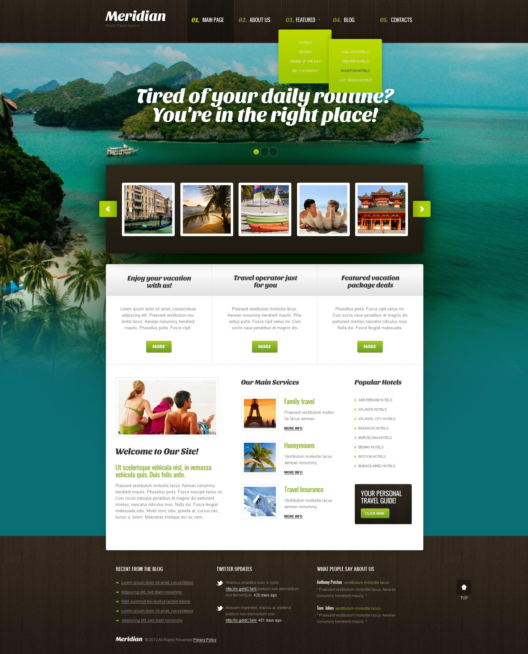 Utazási iroda témakörű WordPress sablon 40959 - képernyőkép