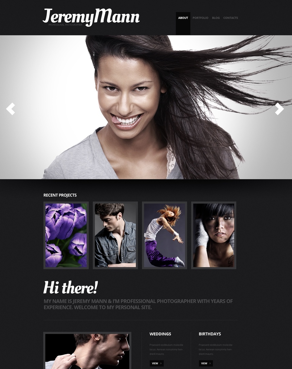 Photographer's Portfolio Website Template with Black Design - image