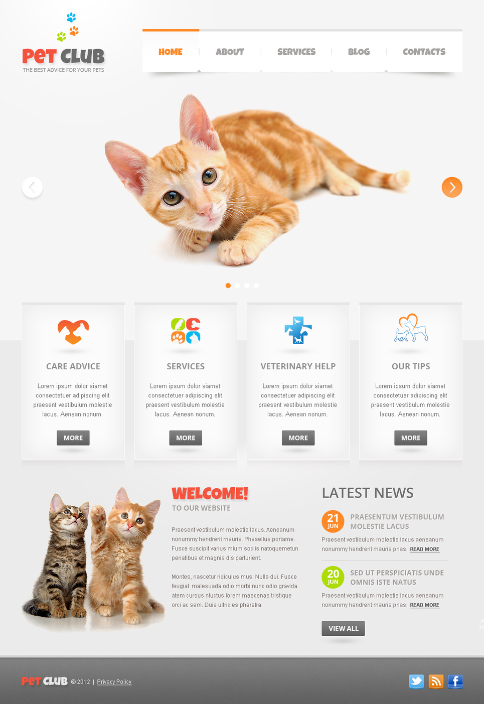 Pets Website Template with jQuery Slider - image