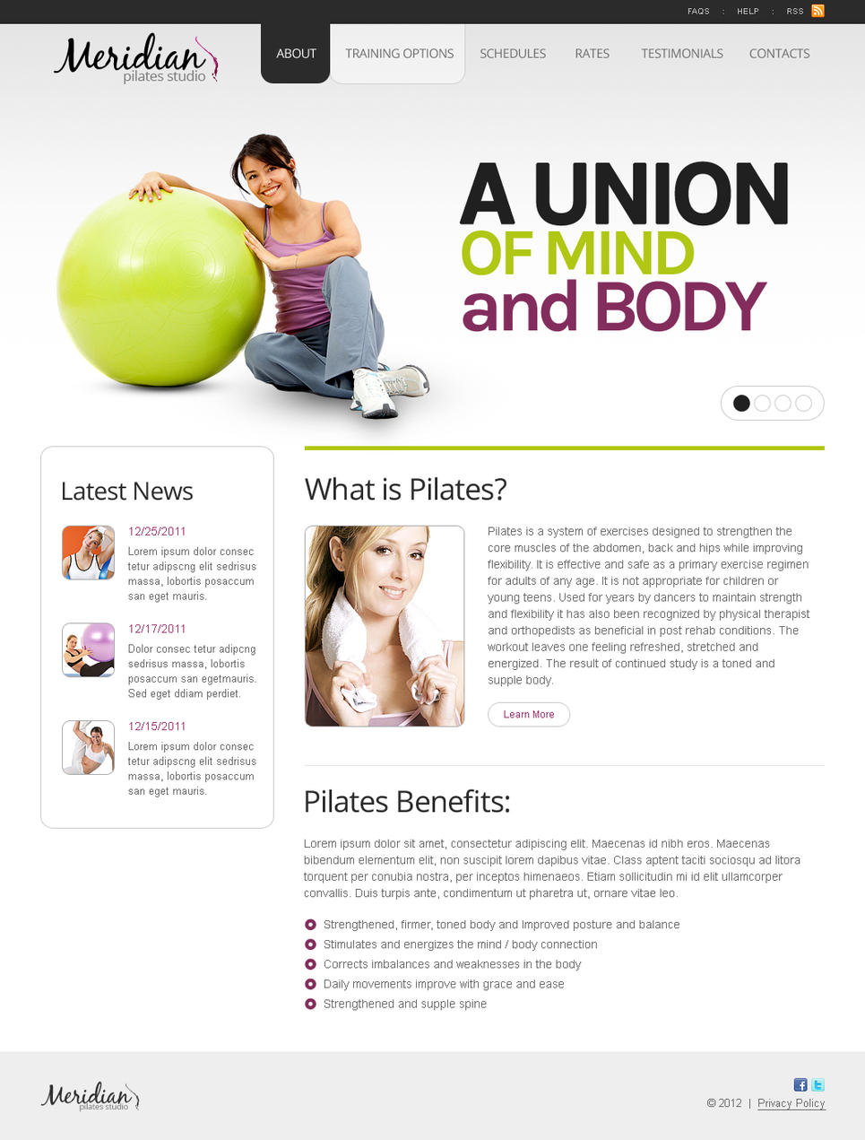 Fitness Website Template with jQuery Slider - image