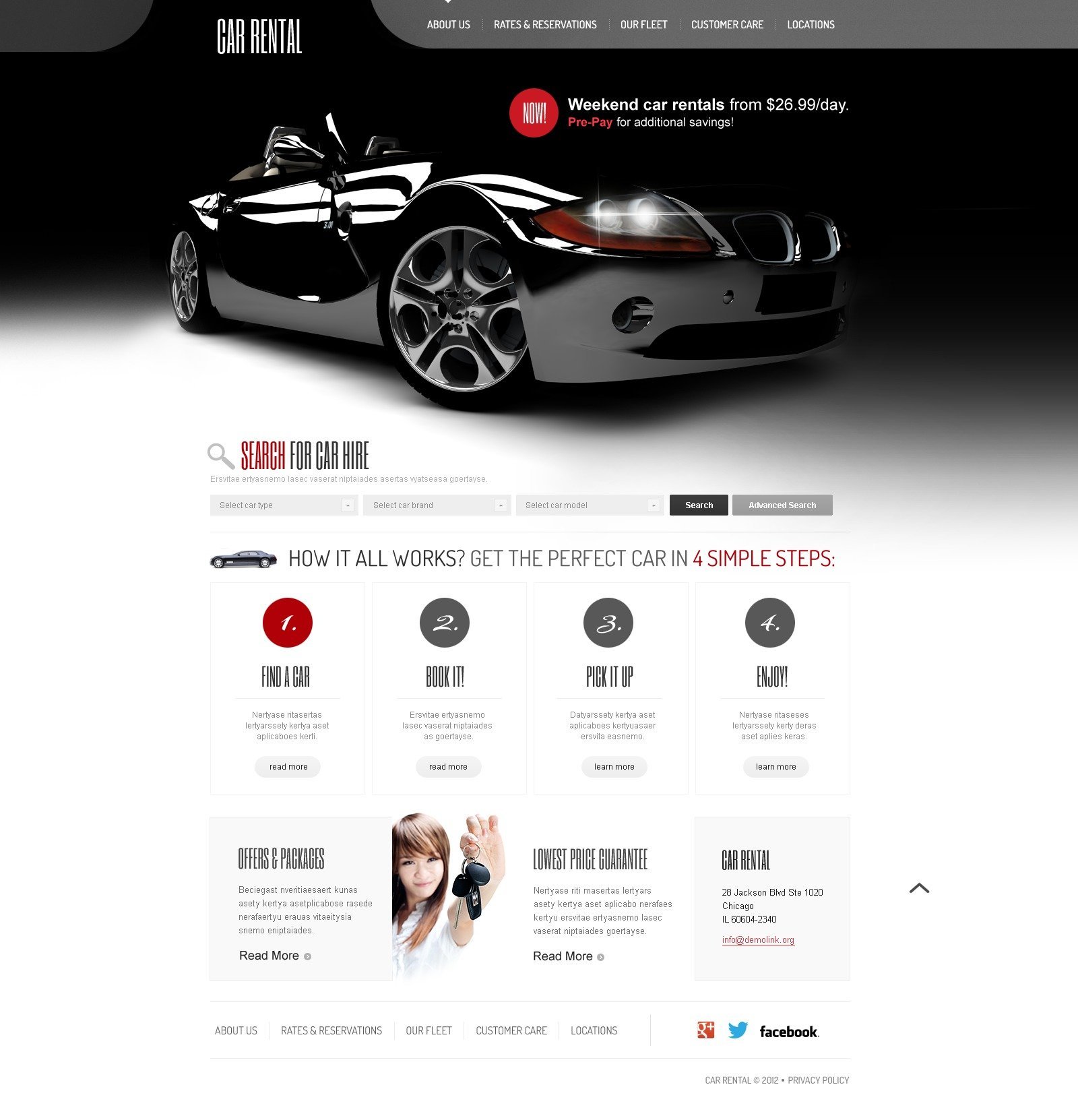 Rent Websites: Car Rental Website Template #41070