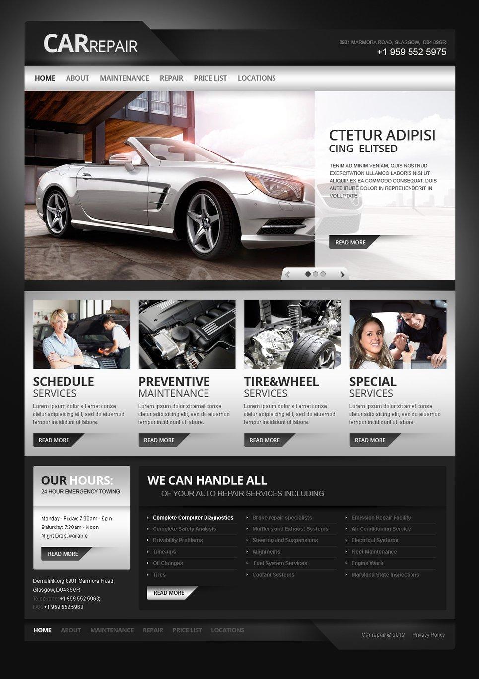 car repair moto cms html template 41082