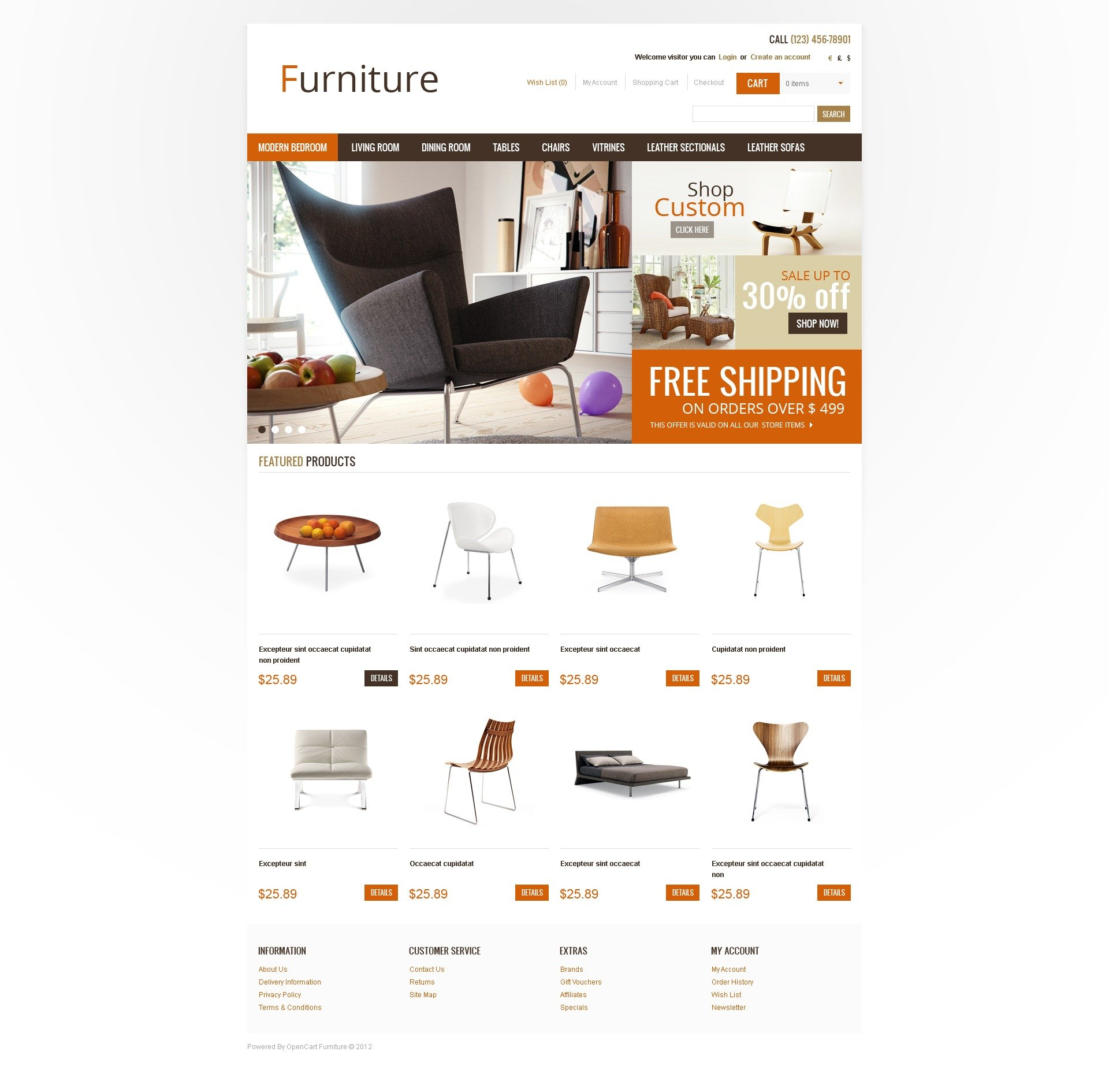 home & office furniture opencart template #41030