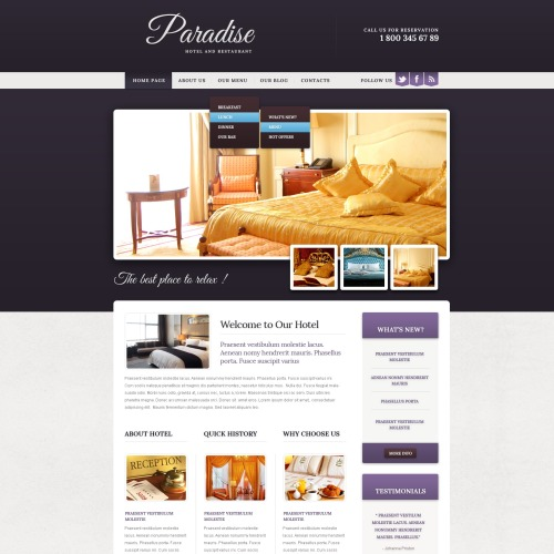 Paradise - Drupal Hotel Website Template