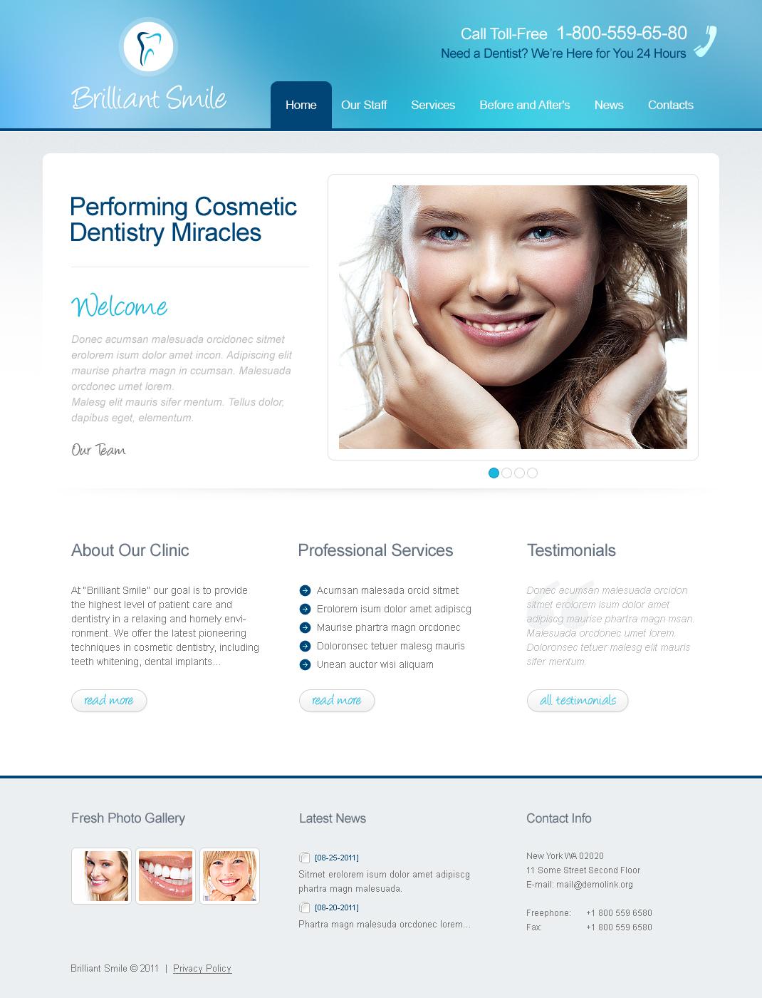 Luxusní Moto CMS HTML šablona na téma Dantista #41020