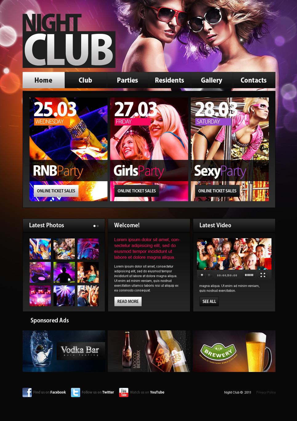 Night Club Moto CMS HTML Template New Screenshots BIG