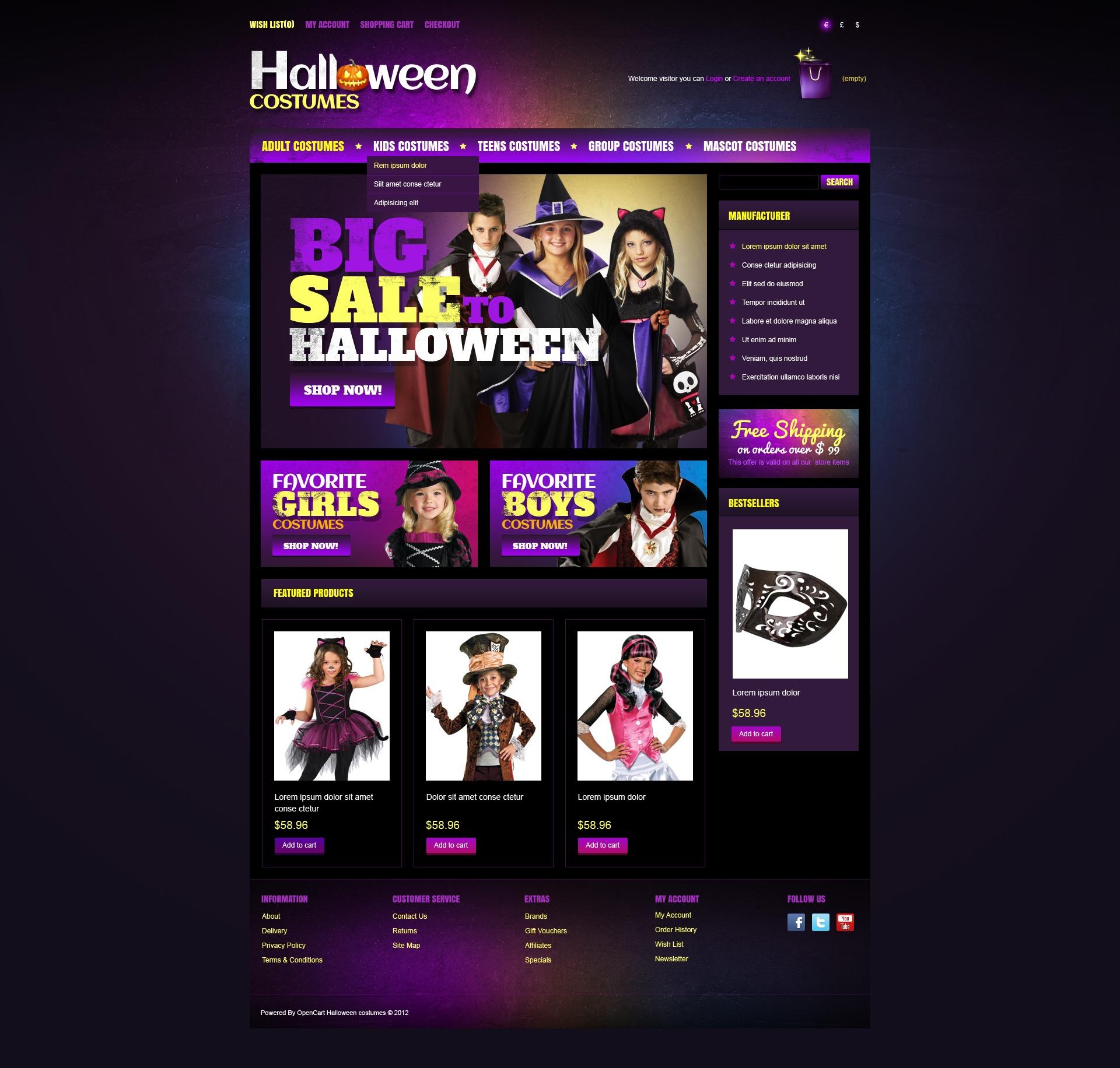 """Plantilla OpenCart """"Halloween Costumes"""" #41053 - captura de pantalla"""