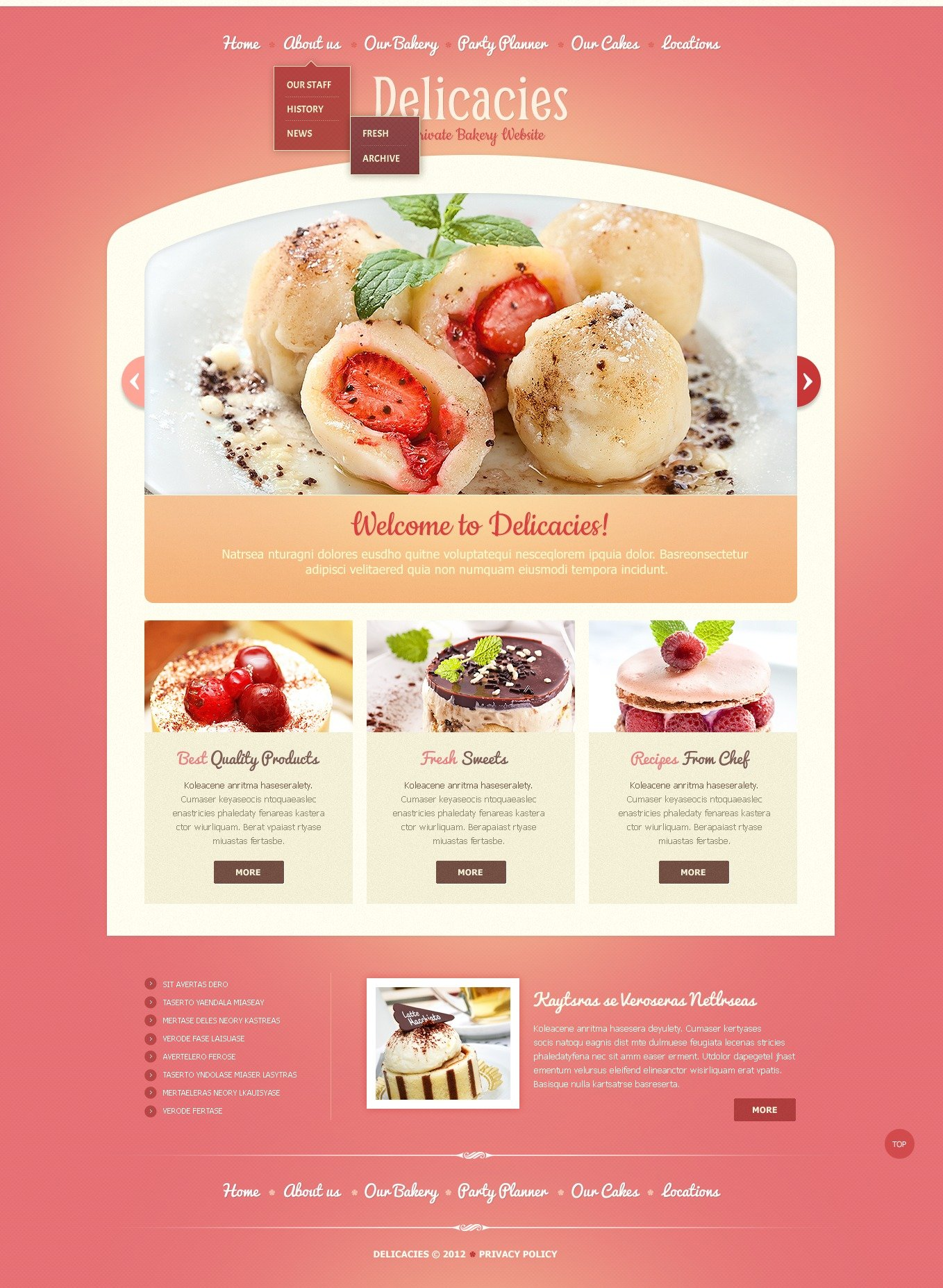 Template Web para Sites de Padaria №41055