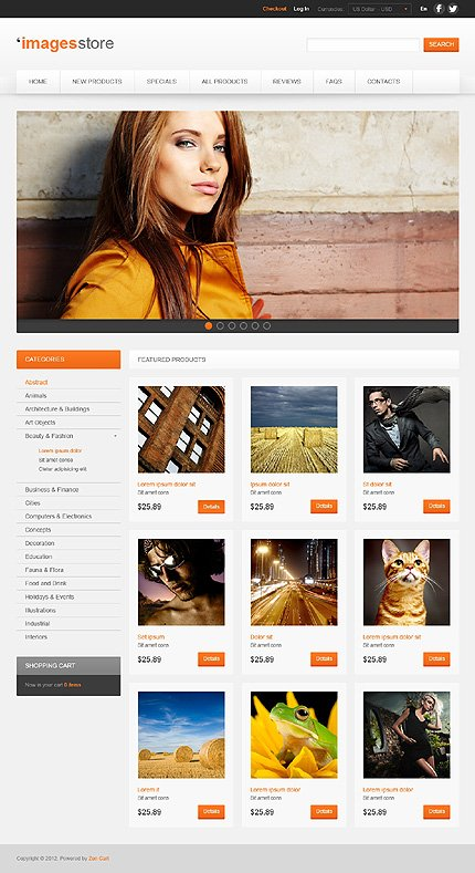 ZenCart Template 41121 Main Page Screenshot