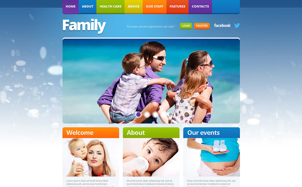 Responsive Website template over Familie  New Screenshots BIG