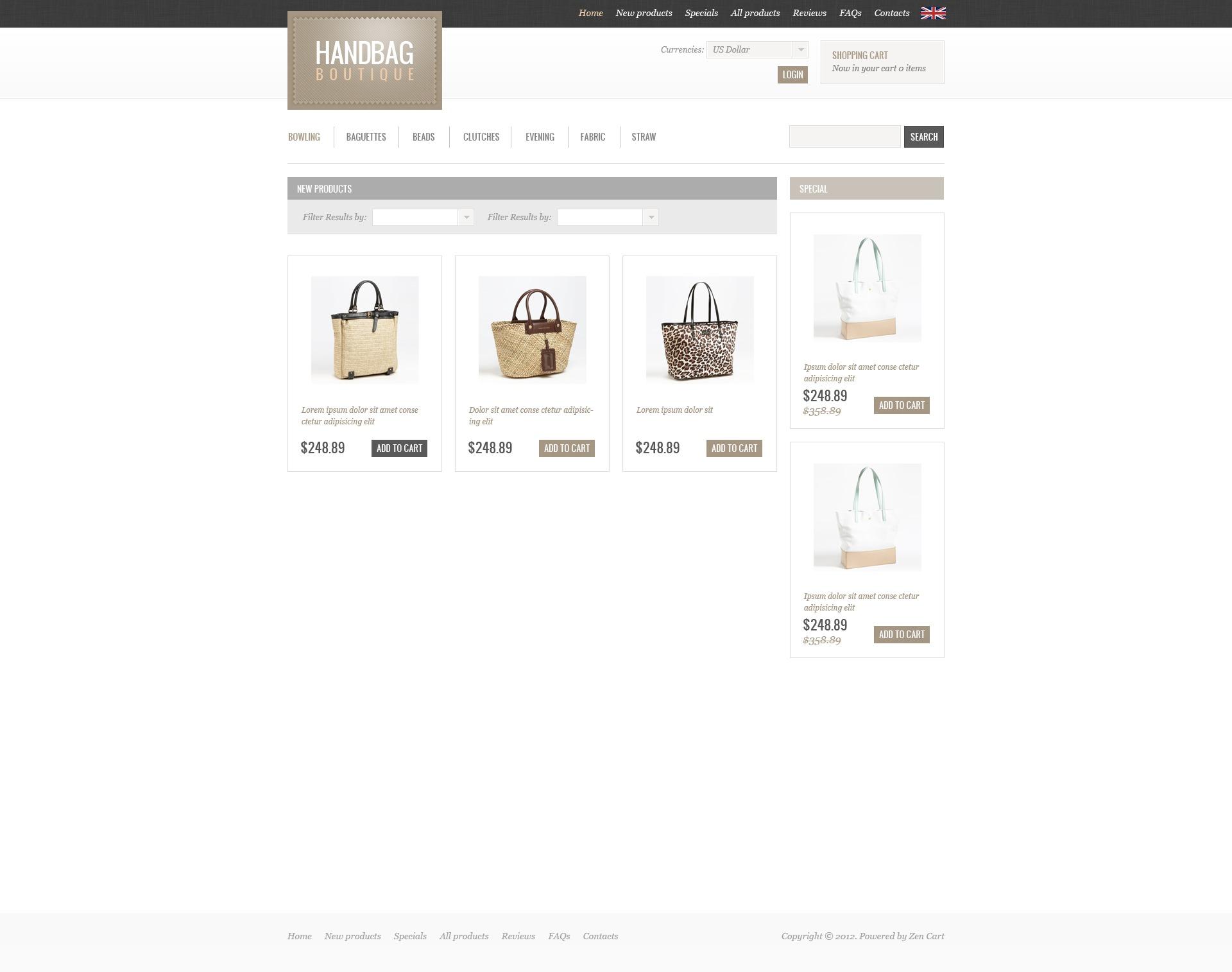 """Handbag Boutique"" ZenCart template №41122"