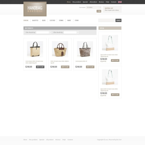 Handbag Boutique - HTML5 ZenCart Template