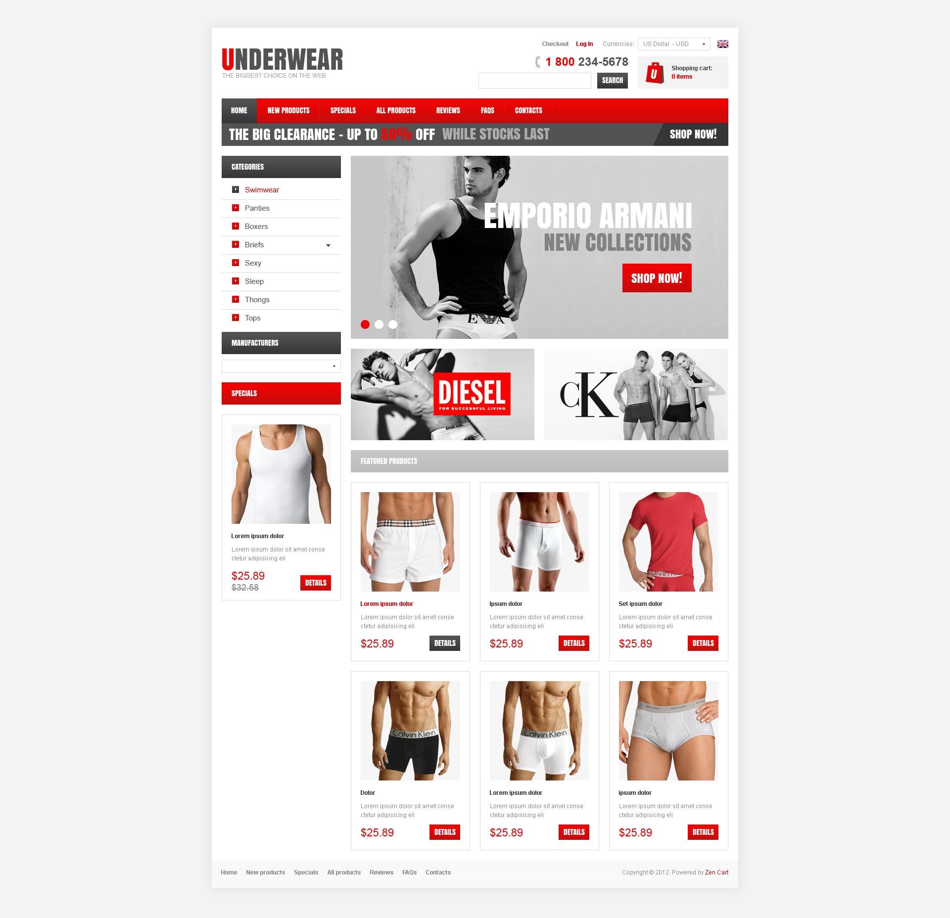 Male Underwear ZenCart Template
