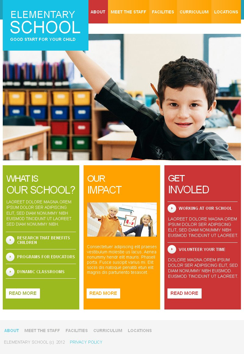 school brochure template - primary school facebook html cms template 41150