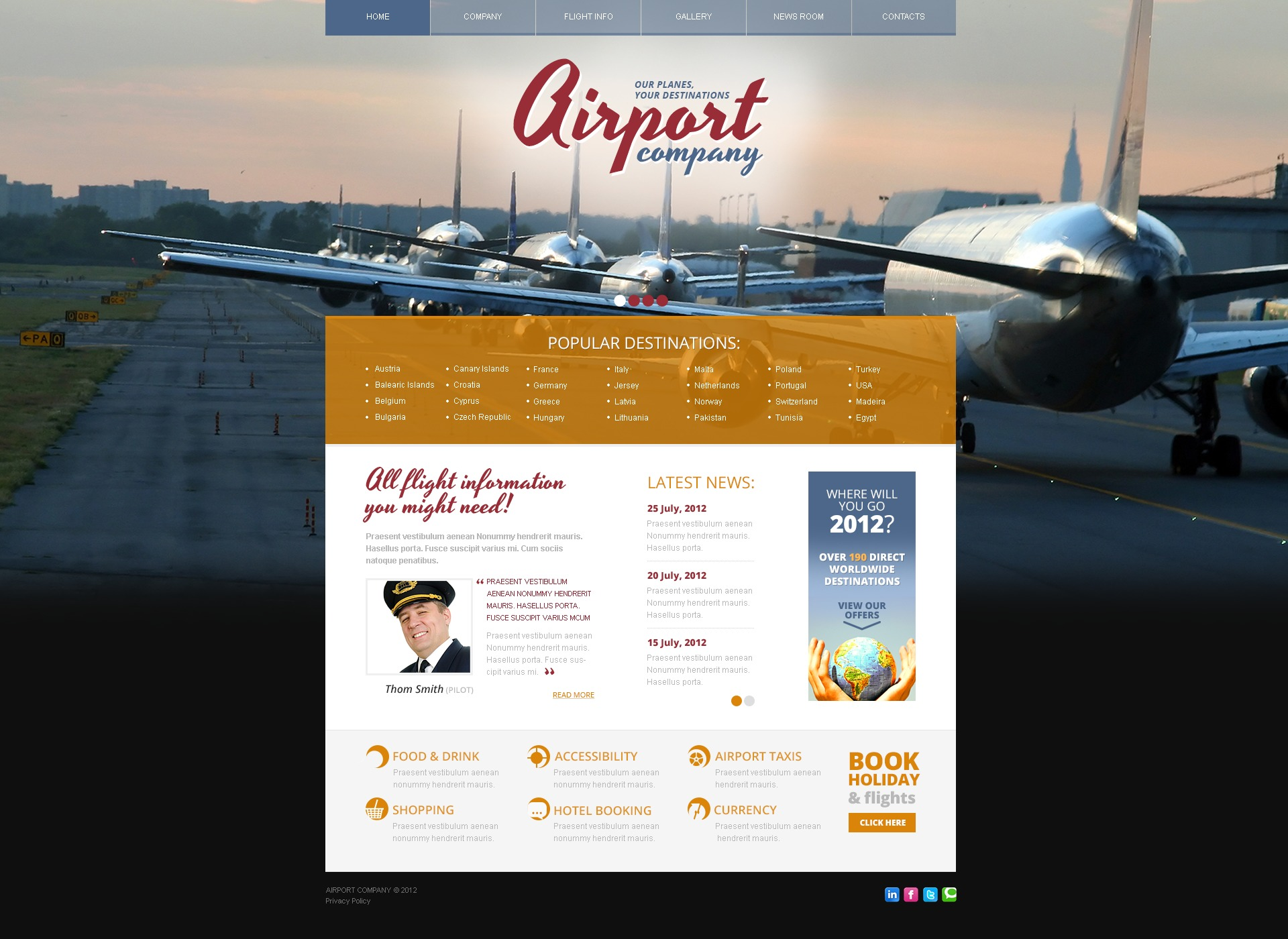 Private Airline Joomla Template 41131