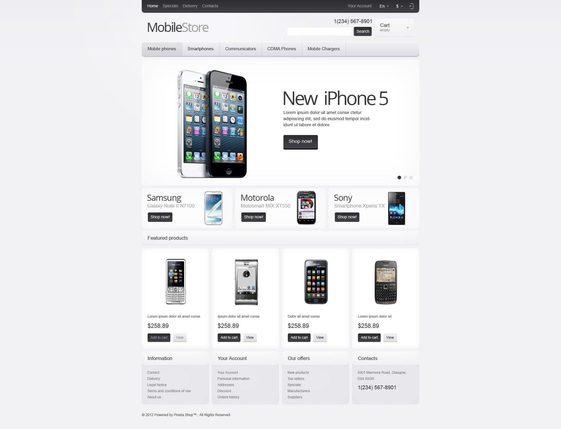 Responsive Mobile Store Prestashop Theme 41145