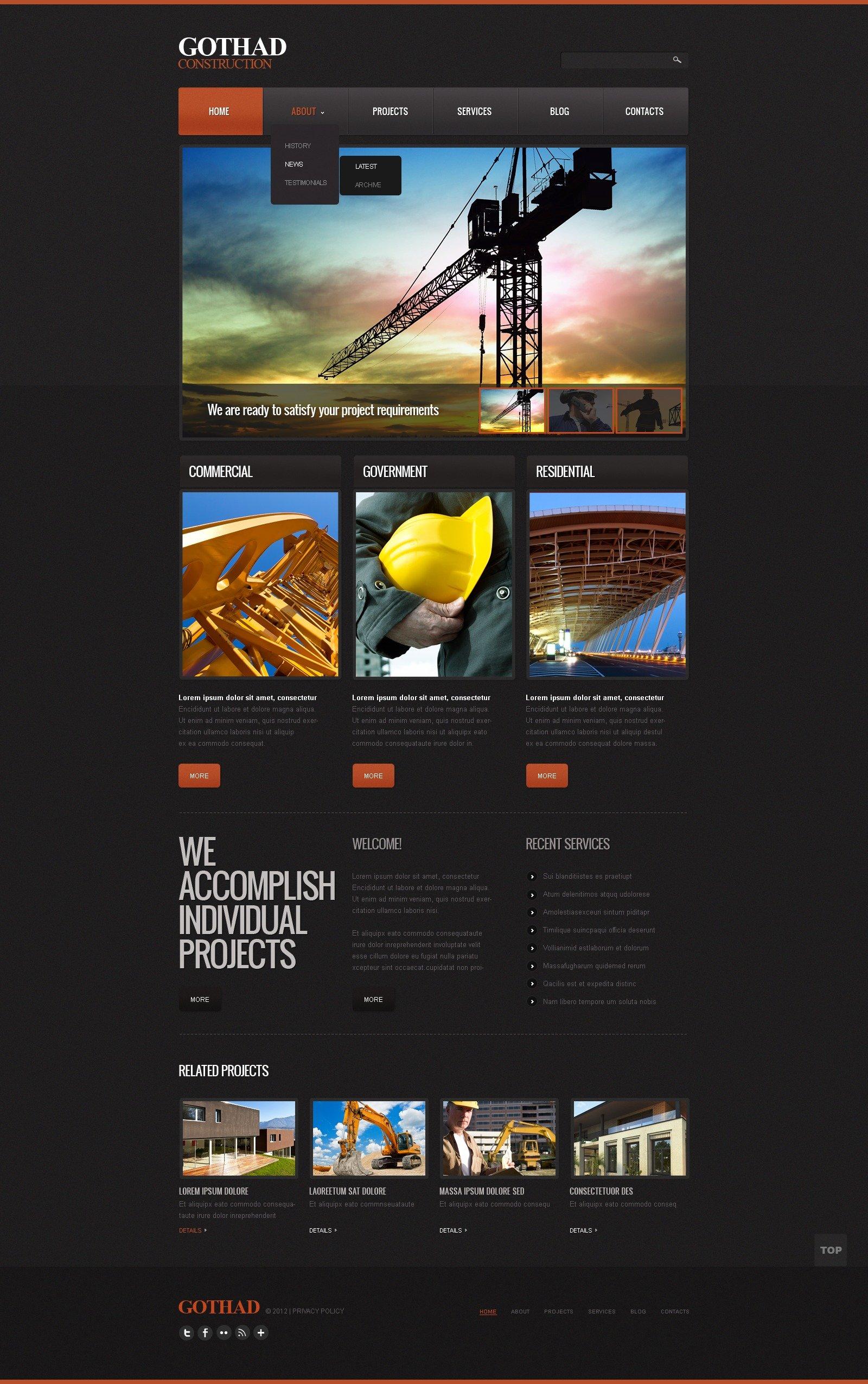 Szablon Strona Www #41185 na temat: firma budowlana