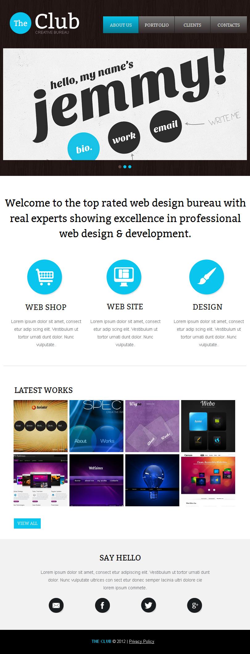 Tema facebook html cms 41175 per un sito di design studio for Sito di design