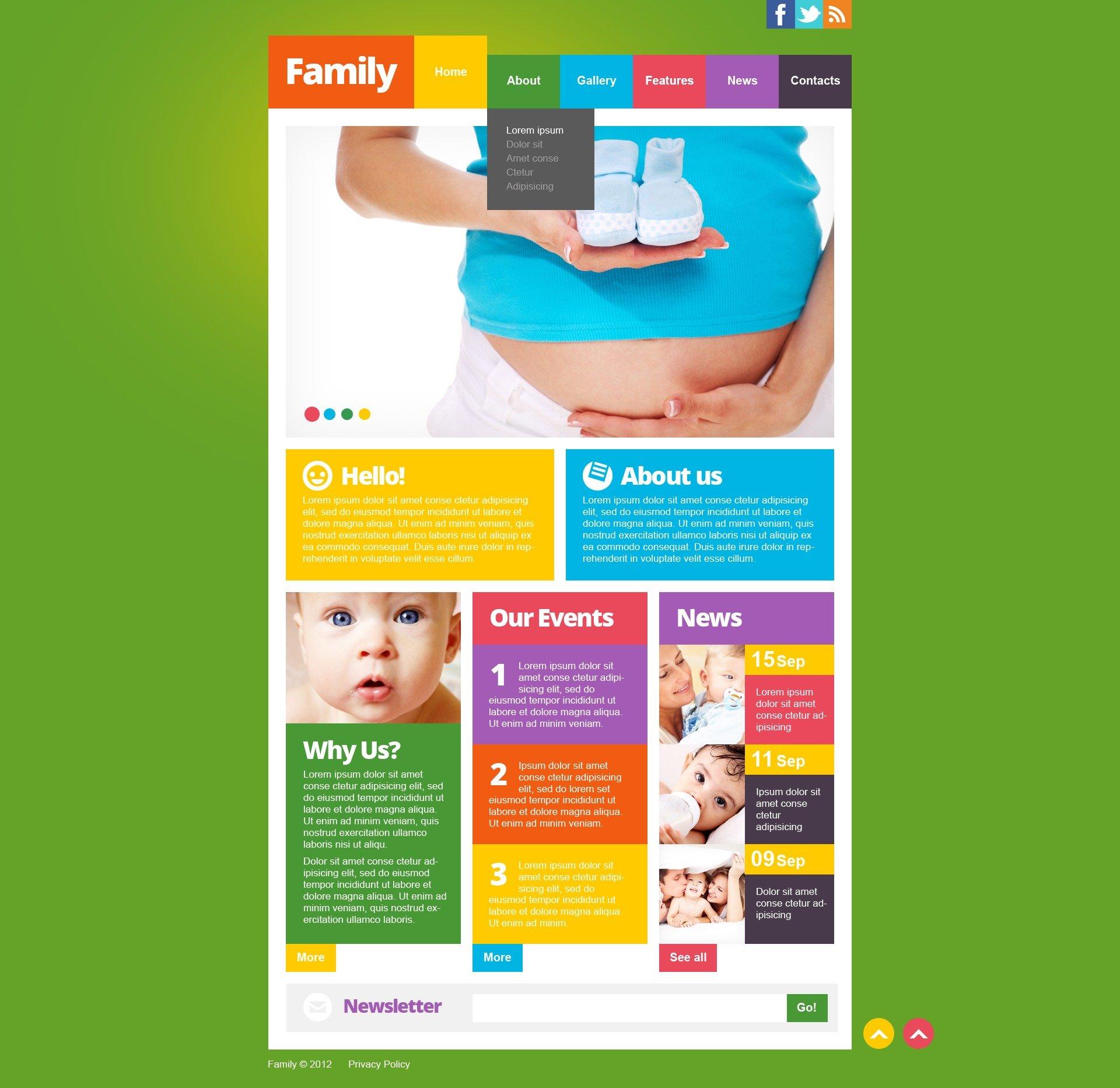 Modello siti web per un sito di centro famiglia for Siti web di costruzione domestica